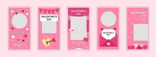 Plantillas editables del día de San Valentín para historias de redes sociales. vector