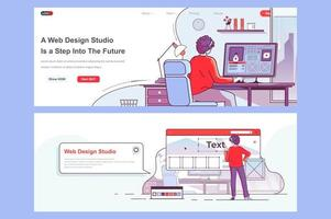 Web design studio landing pages set vector