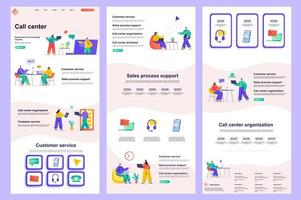Call center flat landing page