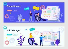 HR management landing page with people characters