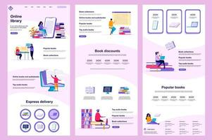 Online library flat landing page vector