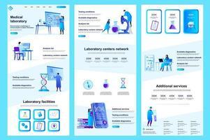 Medical laboratory flat landing page vector