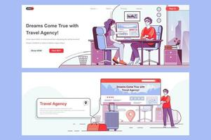 Travel agency landing pages vector