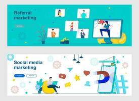 Social media marketing landing page with people characters