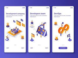 Development company isometric GUI design kit vector