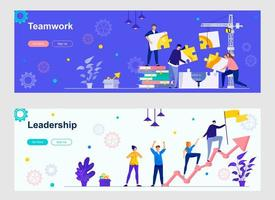 Teamwork and leadership landing page with people characters
