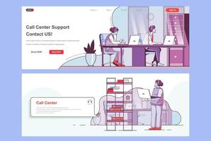 Call center landing pages set vector