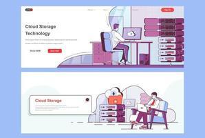 Cloud storage landing pages set vector