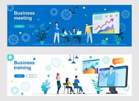 Business meeting landing page with people characters