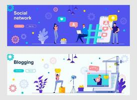 Social network and blogging landing page with people characters