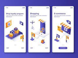 Online shopping isometric GUI design kit vector