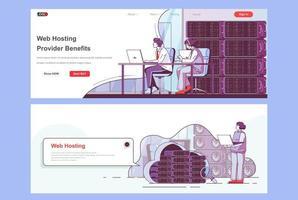 Web hosting provider landing pages set vector