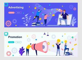 Advertising and promotion landing page with people characters