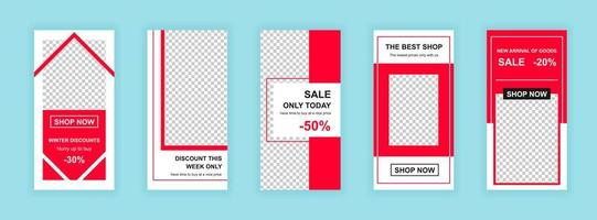 Shopping campaign editable templates set for social media stories