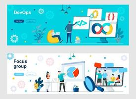 DevOps and focus group landing page with people characters