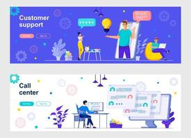 Customer support and call center landing page with characters
