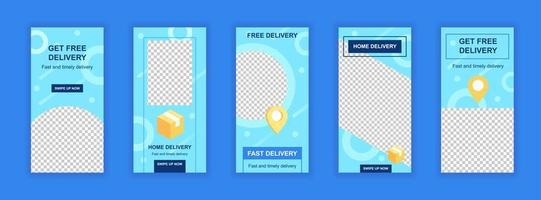Free delivery service editable templates set for social media stories.