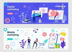 Digital marketing landing page with people characters