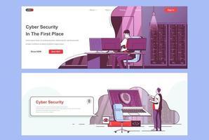 conjunto de páginas de aterrizaje de seguridad cibernética vector