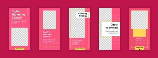 Conjunto de plantillas editables de agencia de marketing para historias de redes sociales.