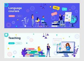 Language courses and teaching landing page with people characters