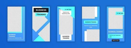 Business training editable templates set for social media stories