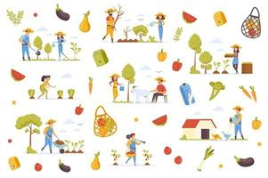 Organic production bundle of flat scenes vector