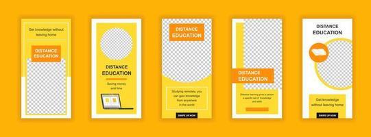 Distance education editable templates set for social media stories vector