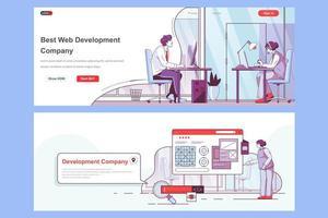 Web development company landing pages set vector