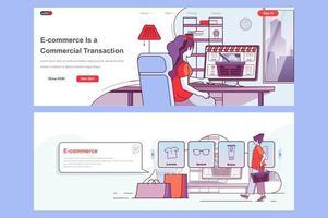 E-commerce landing pages set vector