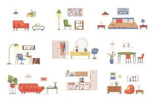 paquete de muebles para el hogar de escenas planas vector