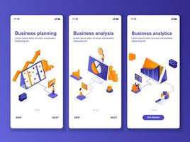 kit de diseño de interfaz gráfica de usuario isométrica de análisis de negocios vector