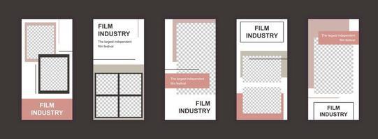 Film industry editable templates set for social media stories