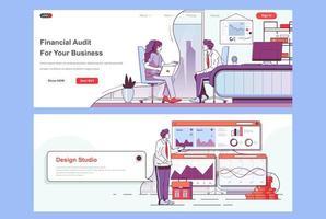 conjunto de páginas de destino de auditoría financiera vector