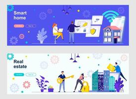 Smart home landing page with people characters