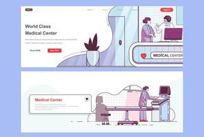 Medical center landing pages vector