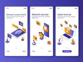 kit de diseño isométrico de seguridad cibernética vector