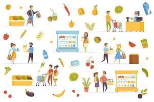 Vegan food bundle of flat scenes vector
