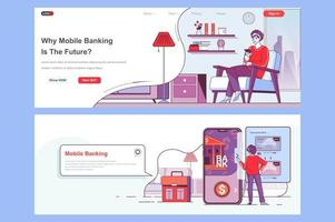Mobile banking landing pages set vector