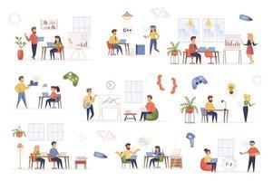 Development company bundle of flat scenes vector