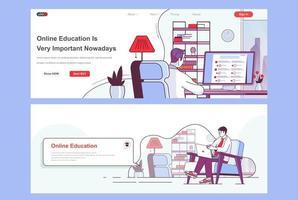Online education landing pages set vector