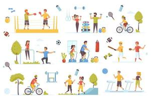 Sports activities bundle of flat scenes