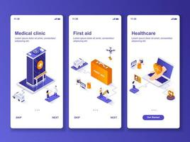 Medical clinic isometric GUI design kit vector