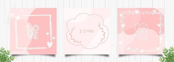 Set of Romantic Pink Square Cards