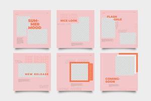 plantilla de publicación de redes sociales promocional rosa y naranja vector