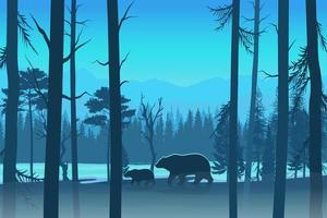 Bears in the forest design in blue tones vector
