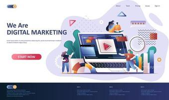 plantilla de página de destino plana de marketing digital