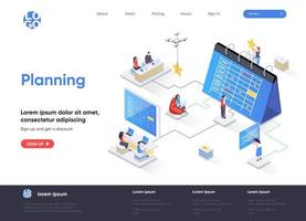 Planning isometric landing page vector