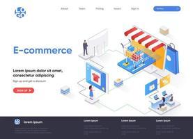 E-commerce isometric landing page design vector