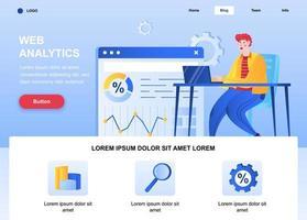 Web analytics flat landing page vector